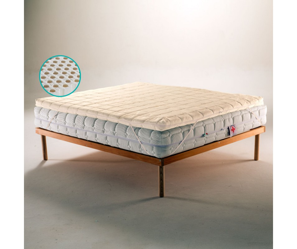Topper correttore 100% lattice per materasso con tessuto BAMBOO sfoderabile alto 4 Cm