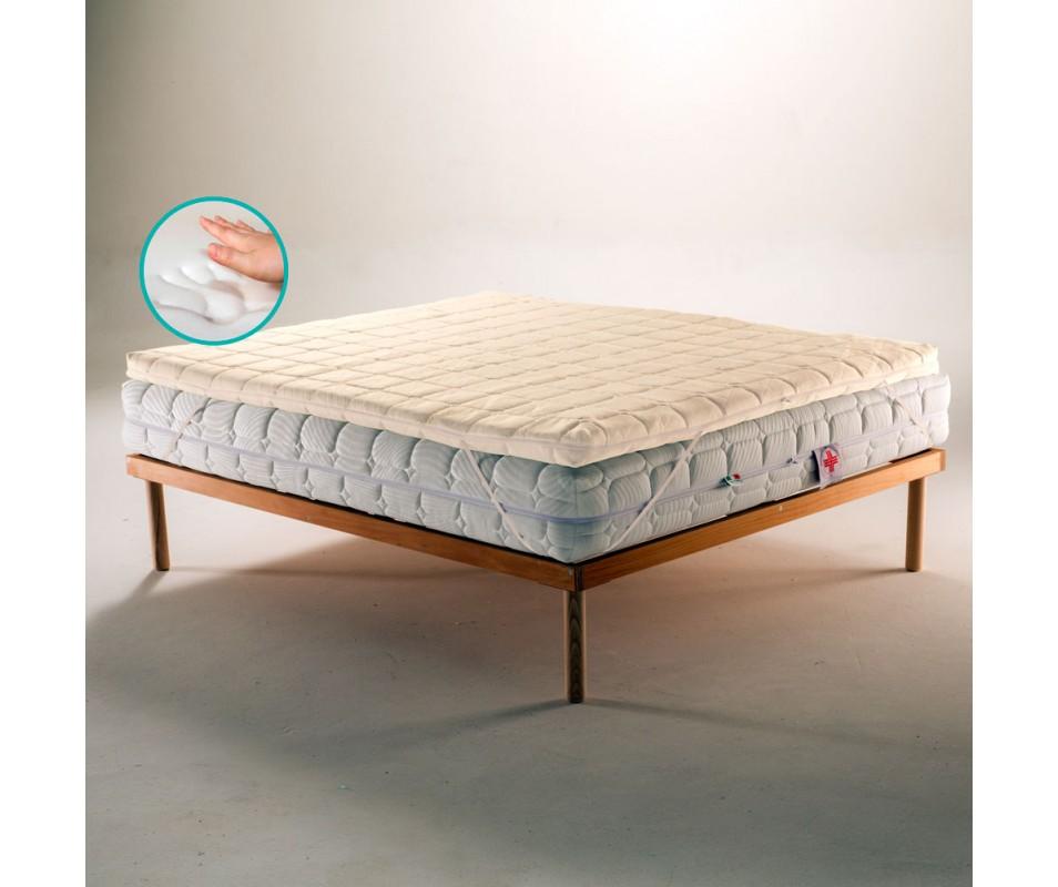 Topper Memory Foam Per Materasso Tessuto Anti Microbico Sfoderabile