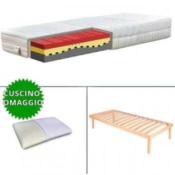 KIT completo di materasso in memory a zone, cuscino in omaggio in memory foam e rete a doghe fissa in legno