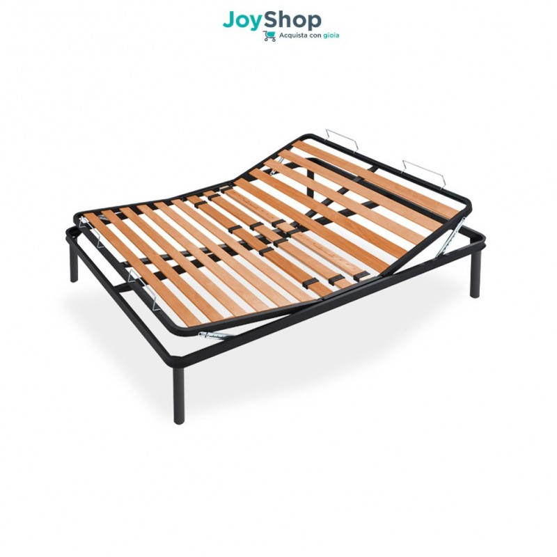 Deal Manual Slatted Bed Base In Beech Wood With Iron Frame And