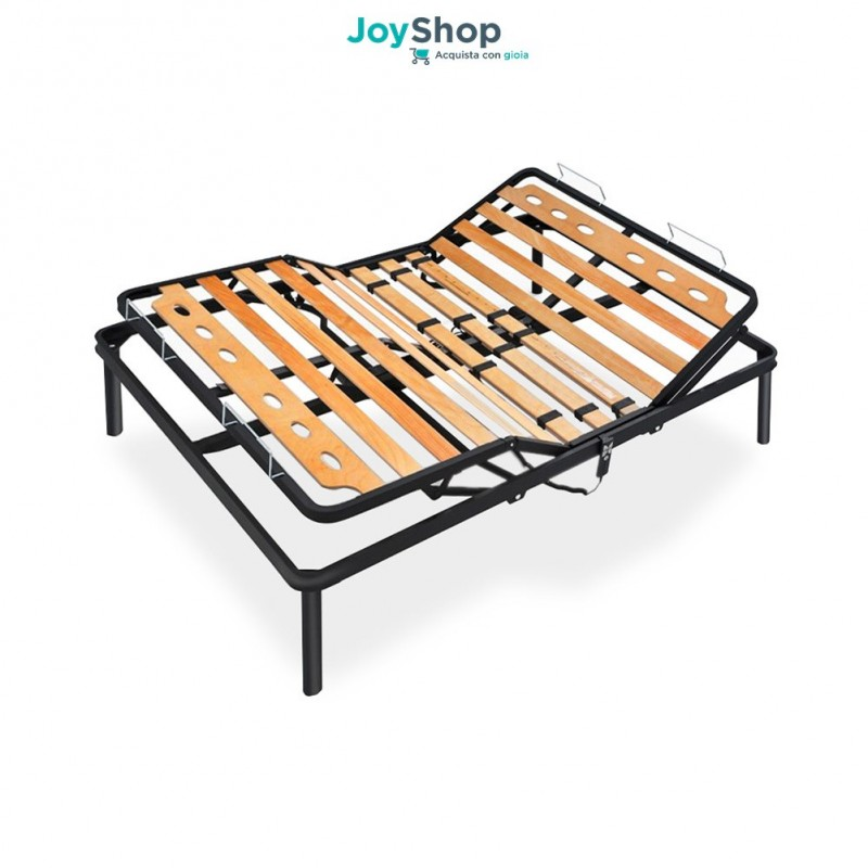 Electric slatted bed base in beech wood with iron frame and single ...