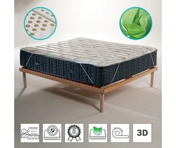 Topper elastico fresco in lattice anallergico con tessuto traspirante 3D anti batterico