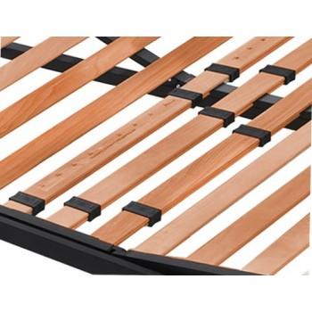 Dettaglio delle doghe in legno di faggio della rete a doghe elettrica